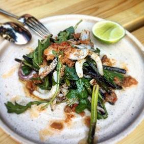 XO southern calamari, daikon, garlic shoots, lime