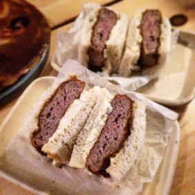 Katsu-sando, crumbed pork meatball sandwich