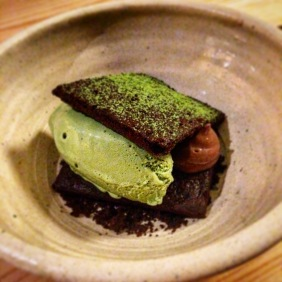 Choc/mint/matcha broken ice cream sandwich