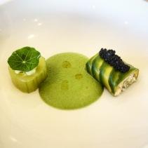 Spanner crab and king prawn tartar, cucumber, avocado, green tomato gazpacho, avruga cavia