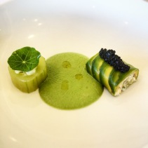 Spanner crab and king prawn tartar, cucumber, avocado, green tomato gazpacho, avruga cavia