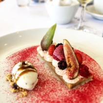 Fig, berries, roses, almond cake with fig leaf ice cream