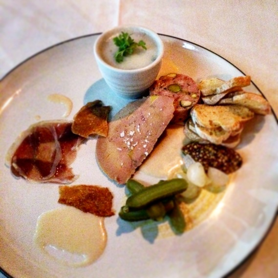 A Taste of Duck - rillettes, sausage, foie gras, duck ham, duck crackling with pickled condiments and jus gras vinaigrette