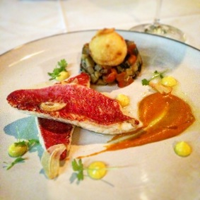 Pan fried red mullet with ratatouille, brandade puff, red pepper sauce, saffron aioli and fried garlic