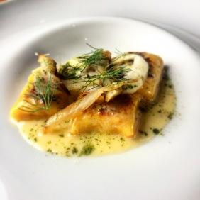 Golden ricotta gnocchi, eggplant, fennel, whey butter sauce