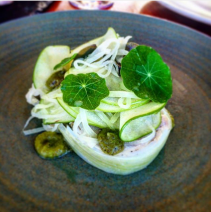 Confit chicken roulade, kohl rabi, caper leaves, granny smith, nasturtium