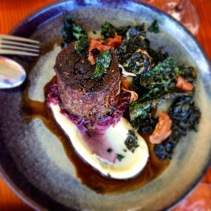 18 hour braised oxtail, fermented red cabbage, parsnip cream, fat hen