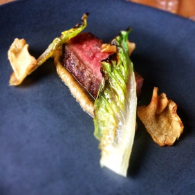 Seared Wagyu, grilled Romaine lettuce, Jerusalem artichoke chips