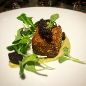 Croquette of pork, hazelnut and tofu with Shultz black pudding