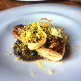 Roasted spatchcock, black beans, white polenta, roots and egg