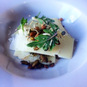 Ewes milk cheese, toasted grains, acorns, lemon and lentils