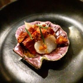 Hand dived KI scallop sashimi with XO, jamon iberica and blood lime