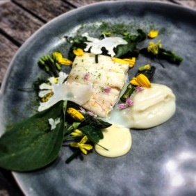 Boar fish with cauliflower, asparagus, plants from the garden and almond cream