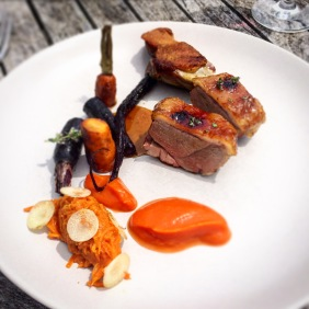 Free range Aylesbury duck glazed in manuka honey with carrots, carrot jam and flowering thyme
