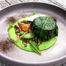 Lamb cooked in fig leaf, peas, pulses, mint, preserved cumquat and lemon ash
