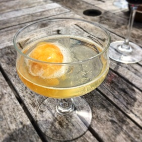 Passionfruit sorbet with prosecco