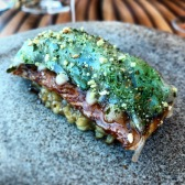 Eel, lardo, furikake, iceplant, sea parsley