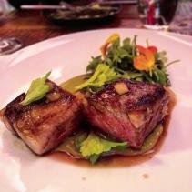 Beef short rib, fermented leek, anchovy, dill pickle, beach mustard salad