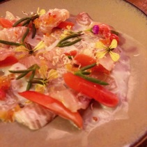 Cured kingfish, pickled radish, buttermilk, horseradish, blood lim