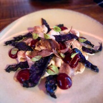 Jowl, smoked beetroot, charred red cabbage, goat cheese