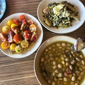 Povarello beans, Lentils and veggies, and tomatoes with bone marrow dressing