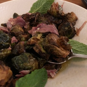 Roasted Brussels sprouts with smoke ham hock