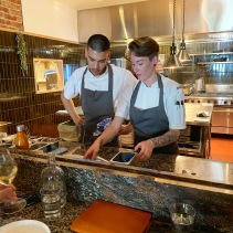 Members of the kitchen team - Justin Kessler and Amelia Hussey