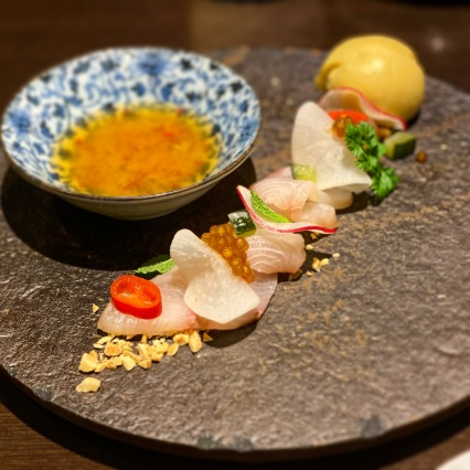 Smoked himeji kingfish with tapioca pearls, Vietnamese dressing and passionfruit sorbet