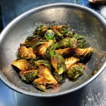 Fried brussels sprouts for the fish dish
