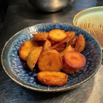 Roasted potatoes, twice cooked, vinegar