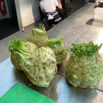 Celeriac ready to be peeled and chopped