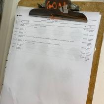 Today's run sheet