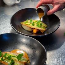 Fair fish pan-fried garfish, confit onions, leek puree, leek top oil, wild herbs and lemon mascarpone