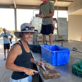 Carly filleting the whiting